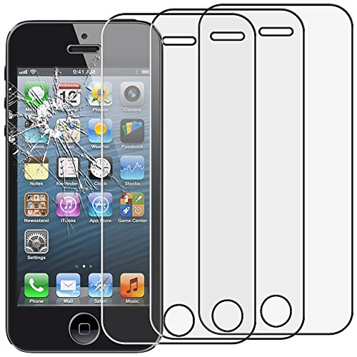 ebestStar - kompatibel mit iPhone SE Panzerglas x3 iPhone 5 5S Schutzfolie Glas, Schutzglas Displayschutz, Displayschutzfolie 9H gehärtes Glas [iPhone: 123.8 x 58.6 x 7.6mm, 4.0'']