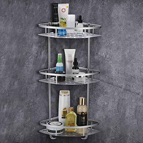 Greensen Duschregal Eckregal Badregal Bad Duschablage Aluminium Eckablage Duschkorb 3 Etagen Duscheckregal mit Haken Badezimmer Regal für Shampoo