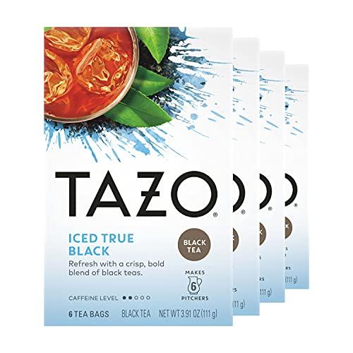 Tazo Tea Bag, Iced True Black, 6 ct, Pack of 4 (Packaging may vary)