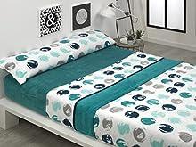 BONCASA Juego de sábanas Invierno de CORALINA Extra Suave (Paris Azul, Cama 135)