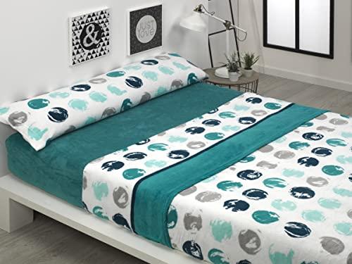 BONCASA Juego de sábanas Invierno de CORALINA Extra Suave (Paris Azul, Cama 180)
