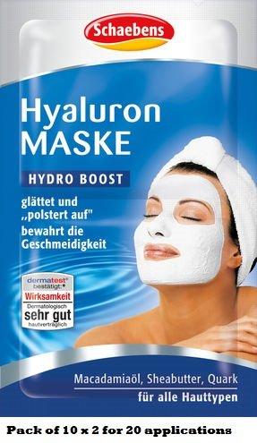 10 x Schaebens Hyaluron Gesichtsmaske - glättet und