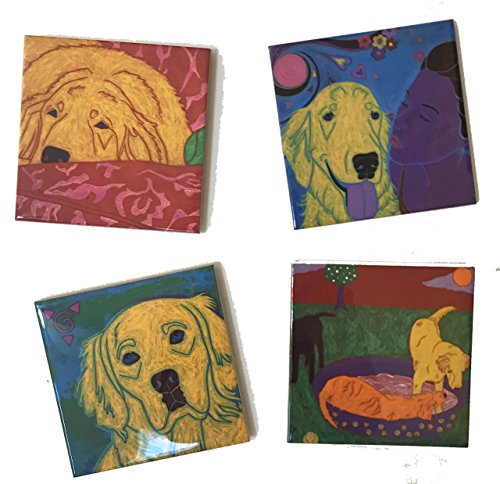 Golden Retriever Tile Coaster Set, Dog Art Collectible Home Decor by Angela Bond