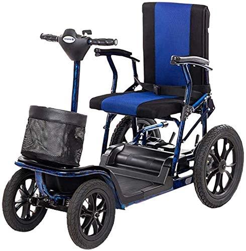 QUETAZHI Scooter eléctrico de Edad Avanzada Silla de Ruedas Personas discapacitados de Silla de Ruedas eléctrica Inteligente Mayor de Aluminio Plegable automática de la batería de Litio QU523