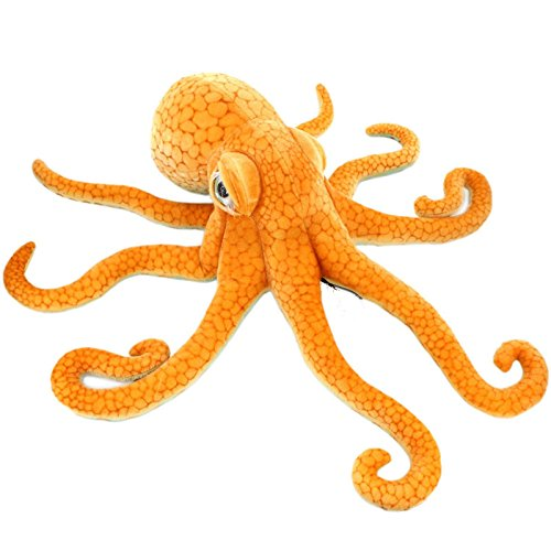 A-cool Giant Realistic Stuffed Marine Animals Soft Plush Toy Octopus For Womens Mens Adults ,Orange,33.5' or 85CM,1PC
