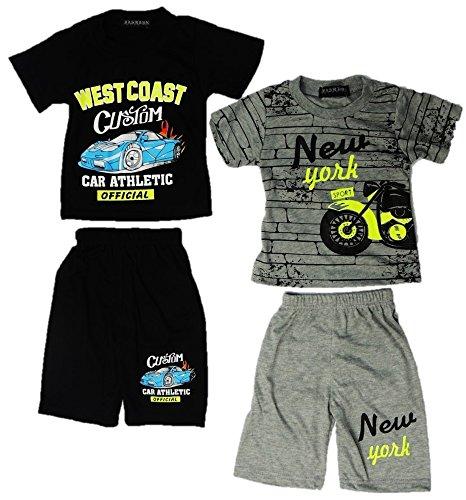 Onbekend 2-pack moderne baby jongens 2-delig pak shirt + broek maat 68-86