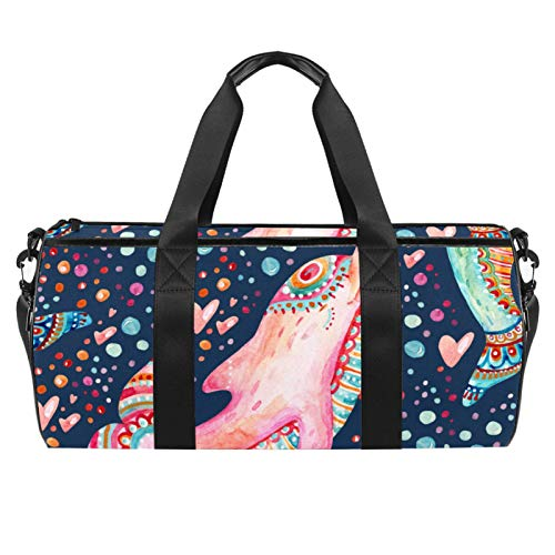 Xingruyun Sporttasche Kinder Delfin Badetasche Gym Tasche schwimmtasche Schultertaschen Reisetasche Urlaubstasche klein Fitnesstasche Sport-Taschen für Mädchen Jungen 45x23x23cm