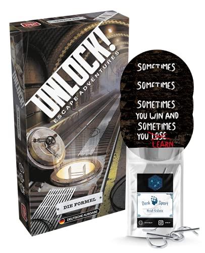 Unlock ! Jeu de puzzles « Die Formula (Escape Adventures » en allemand + 3 autocollants Escape + 1 noble en métal