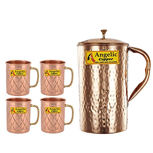 Angelic Copper Handmade Copper Jug with Designer Cup Set, Set of 4,...