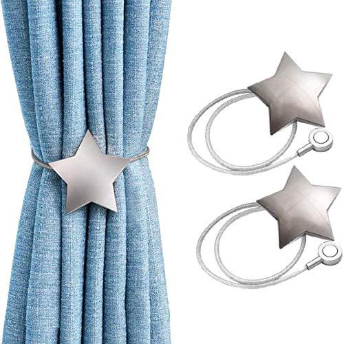 Magnetische Vorhang-Raffhalter mit silberfarbenem Stern, handgefertigt, dekorative Vorhanghalter für Gardinen