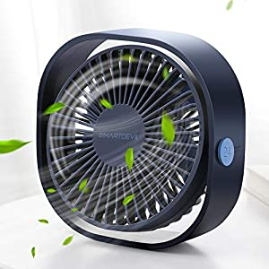 SMARTDEVIL USB Desk Fan,Small Personal USB Fan,3 Speeds Desk Desktop Table Cooling Fan with USB Rechargeable,Strong Wind,Quiet Operation,for Home Office Car Outdoor Travel (Blue)