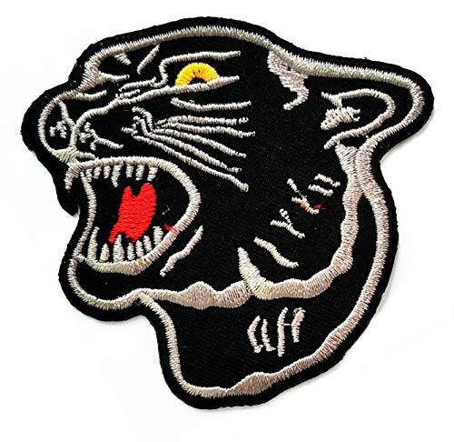 Black Panther Black Tiger Angry Embroidery Patches Iron On Sewing Embroidered Patches Clothing Badge Applique Stickers Patch Animal Zoo Children Unicorn Dinosaurs Bird Lion Tiger Monkey Etc. (36)