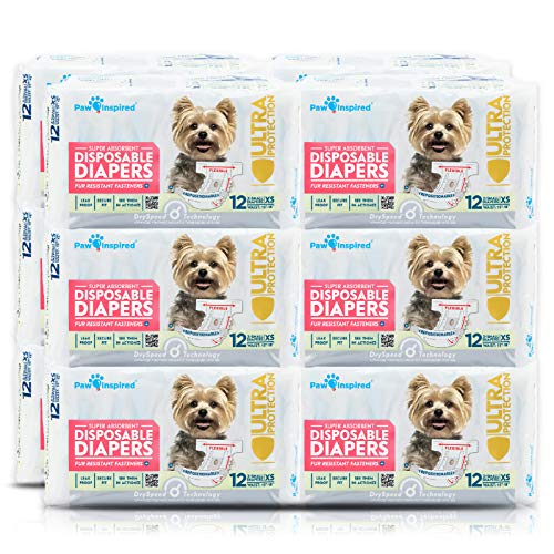 Paw Inspired Disposable Dog Diapers | Female Dog Diapers Ultra Protection | Diapers for Dogs in Heat, Excitable Urination, or Incontinence (144 Count, X-Small)