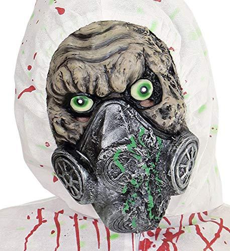 Luxuspiraten - Herren Bio Hazard Biounfall Zombie Latex Maske mit Gasmaske, perfekt für Karneval und Halloween, Grau