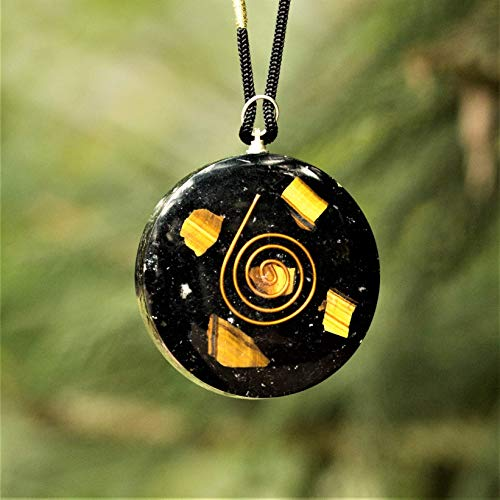 Tiger Eye Black Tourmaline Crystal Healing Pendants - EMF Protection, Better Sleep, Positive Energy Orgone Pendant for Men Women
