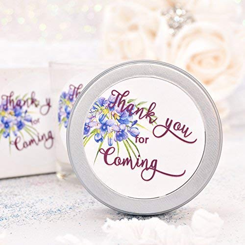 40 Violet Flower Party Favor Labels, Wedding Thank you for Coming Violet Gift Stickers