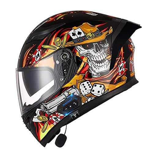 ZLYJ Casco De Motocicleta Bluetooth Modular, Abatible hacia Arriba, Delantero, Casco De Motocicleta, Casco Integral, Ligero, con Visera Doble, Cascos De Motocicleta Aprobados por ECE I,XL(61-62cm)
