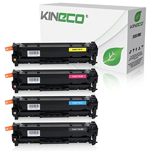 4 Toner kompatibel zu Canon 716 für Canon LBP-5050n, I-Sensys LBP-5050n, MF8030, MF8040, MF8050cn, MF8080cw - Schwarz 2.200 Seiten, Color je 1.400 Seiten