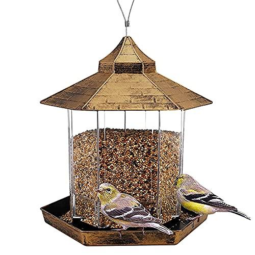 GLAITC Comedero para pájaros,alimentador Colgante de Semillas de Aves Silvestres a Prueba de Gran Capacidad Resistente al Agua Pajarera para Colgar contenedor de Comida para pájaros (Dorado)