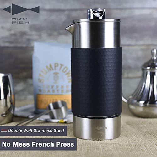 Sky Fish - Prensa de café francesa, doble pared aislada de acero inoxidable,...