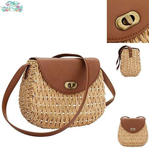 CHANMI Stroh Taschen für Frauen, handgewebte Stroh große Hobo Sommer Strandtasche runden Griff Ring Toto Retro Rattan Tasche