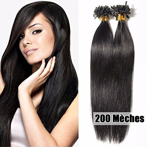 200 Mèches Extension Cheveux Naturel Keratine 100g Cheveux a Chaud Rajout Cheveux Humain - #01 Noir - 50cm