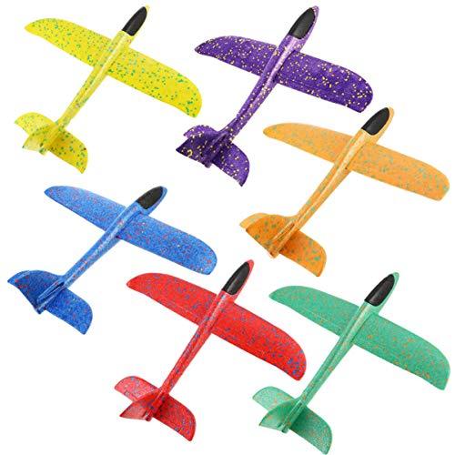 BESPORTBLE 6 Stücke Kinder Segelflugzeug Modell Leuchtende Flugzeug Spielzeug Styropor Flieger Gleitflugzeuge Segelflieger Wurfgleiter für Kindergeburtstag Outdoor