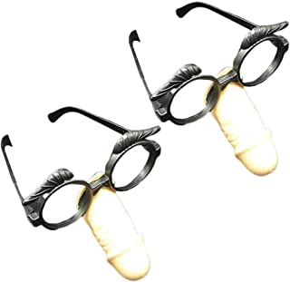 Amosfun 2pcs Disguise Glasses with Funny Nose Long Nose Glasses Holloween Nose Glasees Prop Funny Party Mask