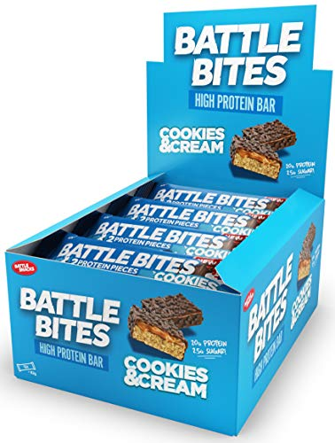 Battle Bites High Protein and Low Carb/Sugar Bar, 12 x 62 g - Cookies And Cream
