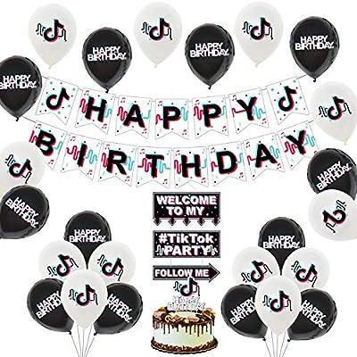 43 Pcs TIK Tok Party Decorations,Tik Tok Party Supplies,TIK Tok Happy Birthday Banner Cake Topper House Decoration Ballons For Boys Girls Music Karaoke Themed Party Decorations