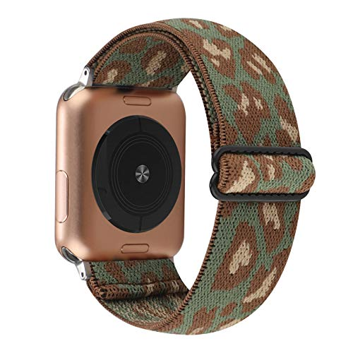 Adjustable Elastic Watch Band Compatible with Apple Watch 38mm 40mm, Nylon Stretchy Solo Loop Bracelet Women Replacement for iWatch Series 6/5/4/3/2/1 (Green Brown Leopard, 38mm/40mm)