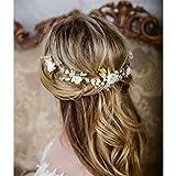 Unicra Or Mariage Perles De Cheveux De Cheveux De Vignes Fleur Headpieces Accessoires De Cheveux De Mariage Pour La Mariée