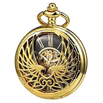 TREEWETO Men s Women s Pocket Watch Mechanical Skeleton Eagle Wings Double Hollow Case Roman Numeral with Chain Box