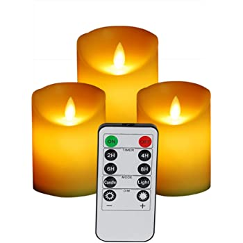3pcs Flameless Color Changing LED Pillar Candle Lights With Remote Control Kit