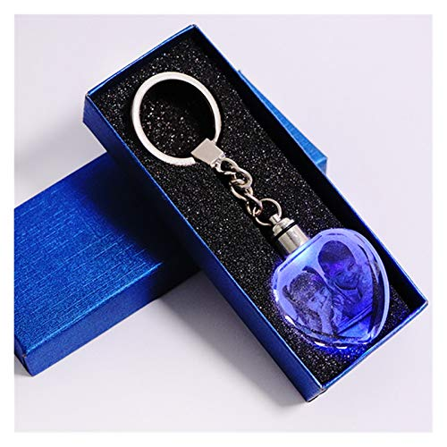 WEIYUE Bunte Kristall-Schlüsselanhänger Foto-Schlüsselanhänger beleuchteter Schlüsselanhänger in Herzform Glasbild Souvenir Geschenke (Farbe: Herz mit Geschenkbox)