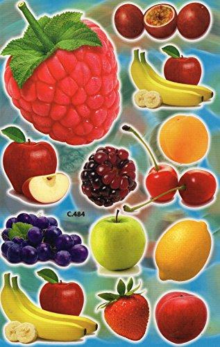 Früchte Obst Himbeere Apfel Trauben Banane Aufkleber 13-teilig 1 Blatt 270 mm x 180 mm Sticker Basteln Kinder Party