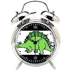 Children's Room Silver Dinosaur Silent Alarm Clock Twin Bell Mute Alarm Clock Quartz Analog Retro Bedside and Desk Clock with Nightlight-311.412_Dinosaur, Stegosaurus, Ancient, Extinct, Spikes