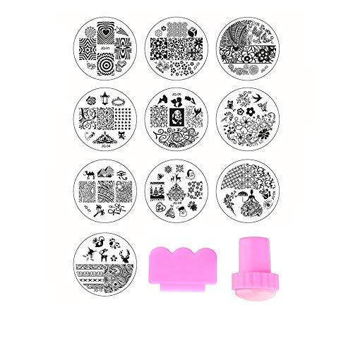 Beauty7 Nail Art 10 x Tampon Stamping Plaques Pochoir en Métal Image 70 Designs Mixtes avec Stamp & Scraper Pour Ongle Manucure