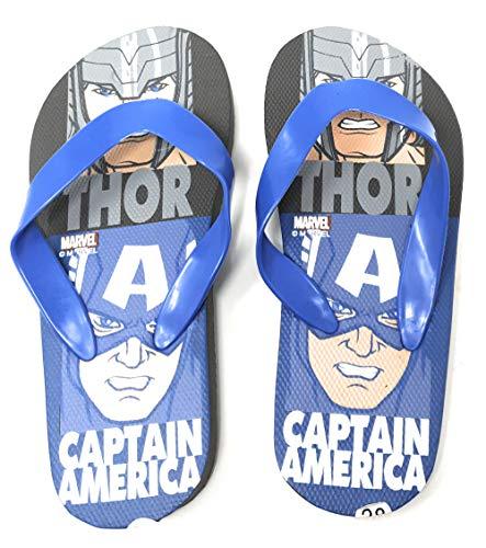 Les Avengers Tongs Enfant garçon Marvel Captain America et Thor Gris/Bleu du 28 au 34 (Numeric_28)