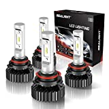 SEALIGHT 9005/HB3 High Beam 9006/HB4 Low Beam LED 14000LM Headlight Bulbs Combo Package CSP Chips 6000K Cool White