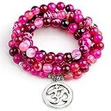TonyJameJPStore Natural Rose Stripe Onyx Tibetan Plated Buddha compatible with Lotus Life Tree Bracelet Women Mala Men Jewelry Stone Prayer Bead Bracelet