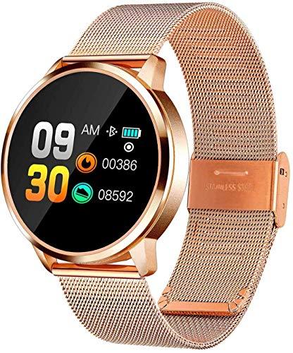 HAWK LI Smart Uhr für Frauen mit Alle-Tag Herz Rate, Blutdruck, Schlaf Monitor, IP67 wasserdichte Aktivität Tracker, Kalorien Zähler, Bluetooth Fitness Tracker (Gold)