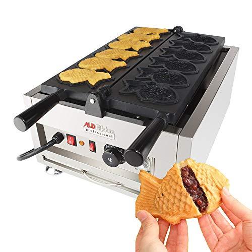 ALDKitchen Taiyaki Iron | Electric Taiyaki Machine | Fish Shaped Waffle Cones | Stainless Steel Professional | Nonstick Coating | 110V (Six Fishes)
