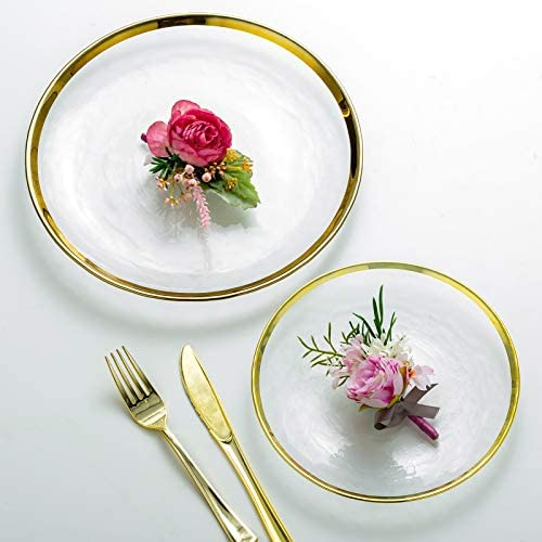 Clear glass plates with gold trim _image2