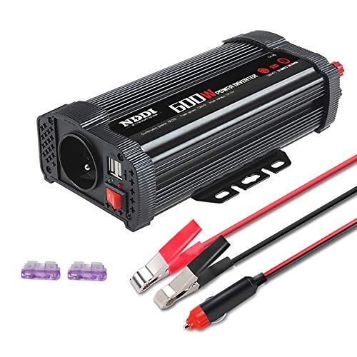 NDDI Wechselrichter 600W, Spannungswandler, DC 12V auf AC 230V, mit Arbeit Kontrollleuchte und 2 USB-Anschlüssen, geeignet für Wohnmobile, Autos, LKWs usw.sicher und bequem