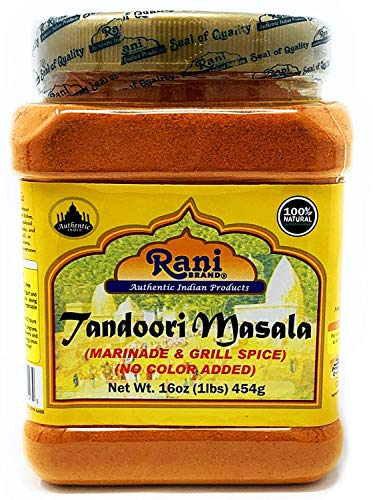 Rani Tandoori Masala (Natural, No Colors Added) Indian 11-Spice Blend 16oz (454g) 1lb PET Jar ~ Salt Free | Vegan | Gluten Friendly | NON-GMO