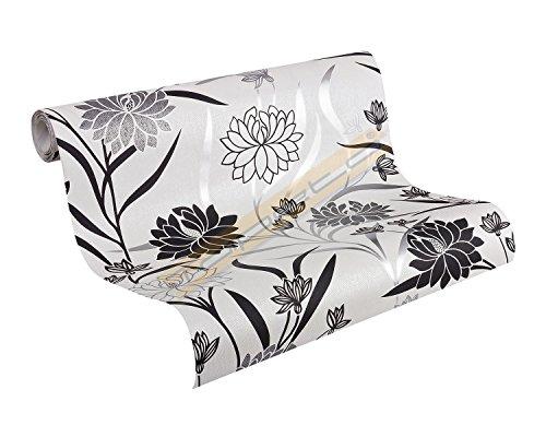 A.S. Création Vliestapete Best of Vlies Tapete floral 10,05 m x 0,53 m metallic schwarz weiß Made in Germany 224910 2249-10