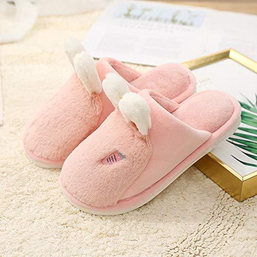 B/H reindeer slippers,Lady plush rabbit cartoon cotton slippers,wear-resistant warm slippers-Pink_UK9-UK9.5,Memory sponge slippers