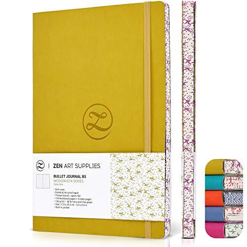 ZenART Tagebuch aus Kunstleder mit Punkten, B5-Größe, 17,8 x 25,4 cm, neues Design mit japanischem Rand, flachliegend, Raster zum Schreiben von Bullets