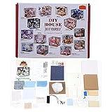 Casa de muñecas DIY, Mini casa de muñecas 3D Juguete con Cubierta de Polvo Escritorio de la Cama Telescopio Dormitorio Muebles Kit Juguete Divertido en casa Regalo para bebés y niños